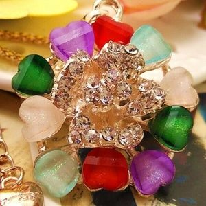 Crystal Muti-colord flower burst  Long necklace